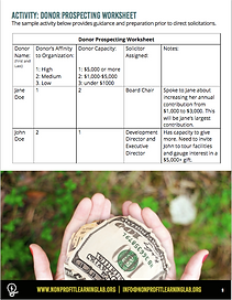 Sample page of donor prospecting activity sheet