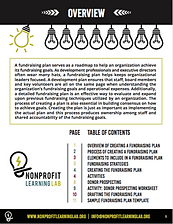 Sample page from fundraising plan guidebook