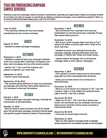 Sample page of year-end campaign activity sheet