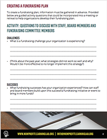 Sample page of fundraising plan activity sheet
