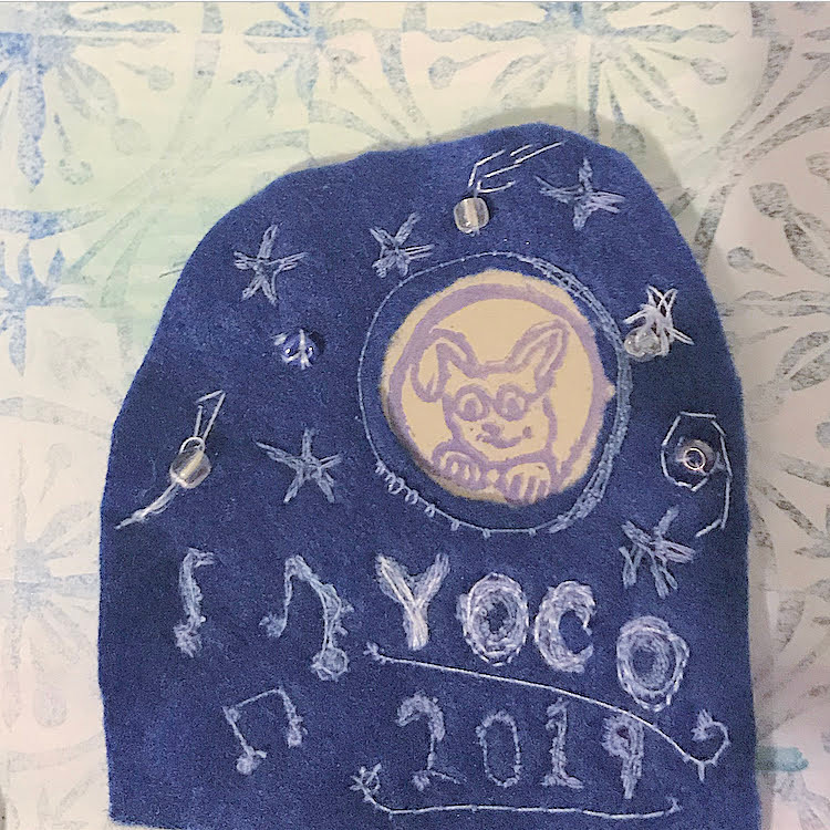Young Company design (handcut stamps and embroidery)