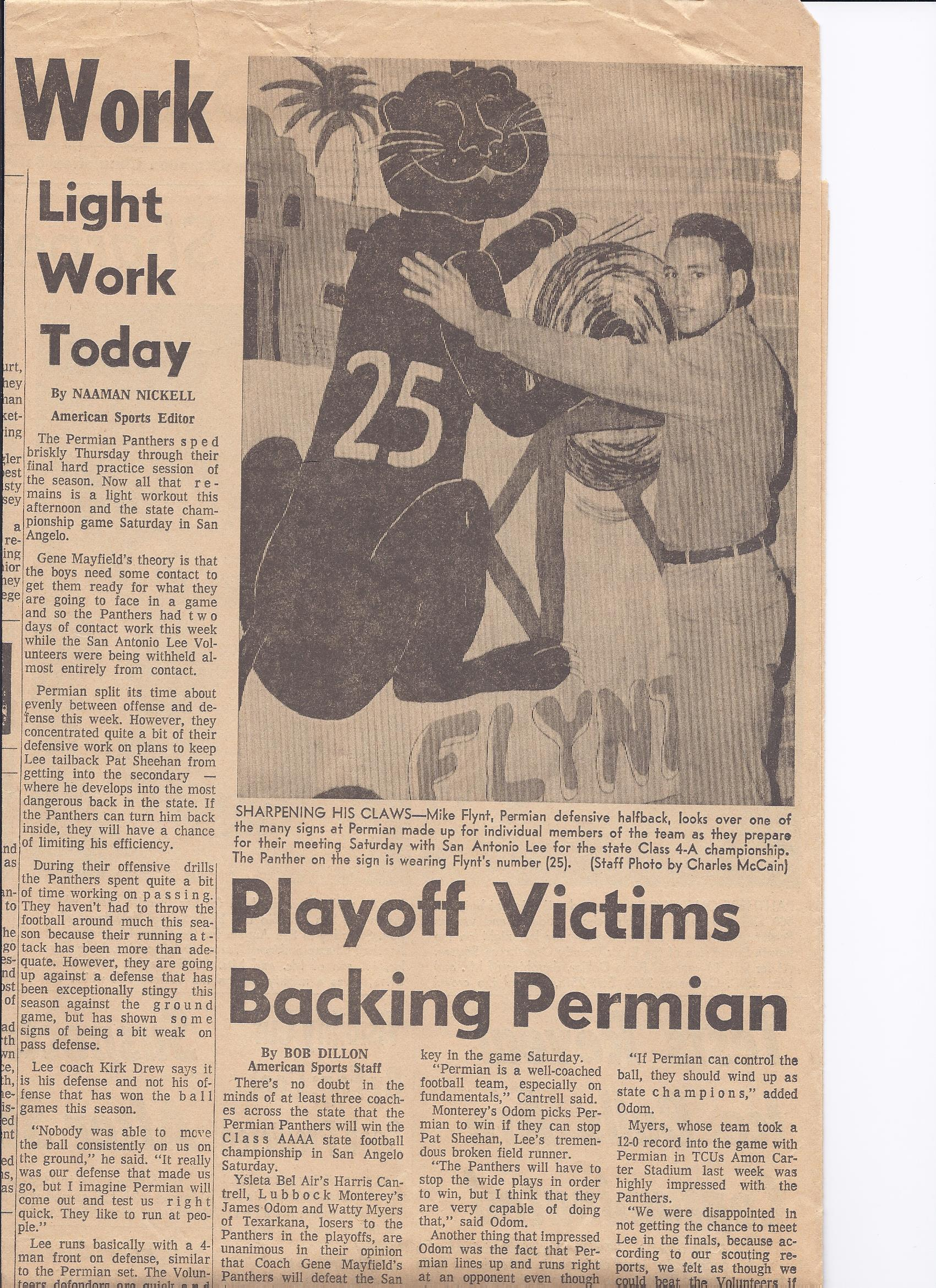 Mike Flynt at Permian 1965