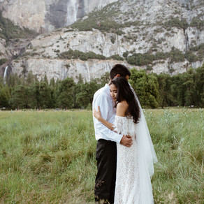 Waterfall elopement in the forest of Yosemite