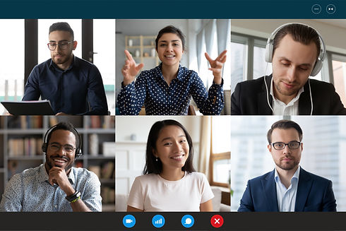 Team working by group video call share i