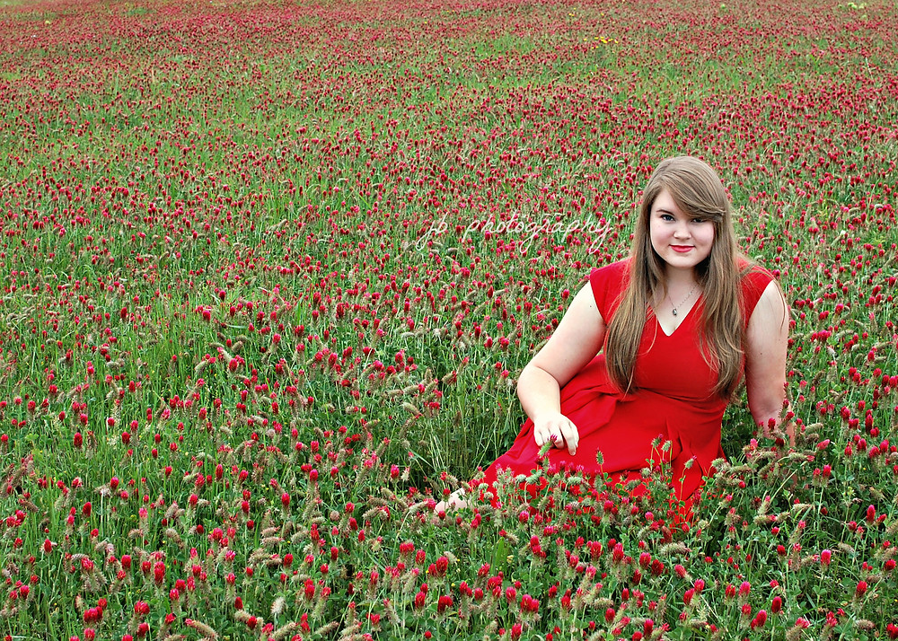 Styled Photoshoot in Field of Red Flowers | Conway, AR Senior Photographer