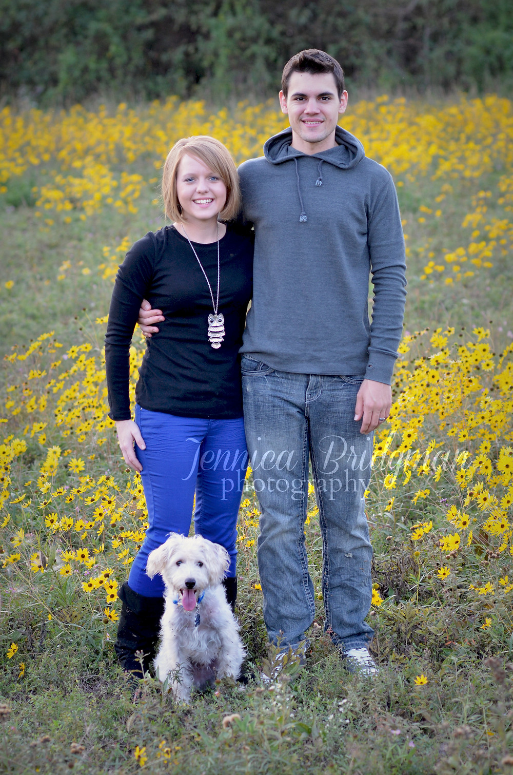 Yellow Flowers and a Cute Pup | Cuevas Family | Conway, AR Family Photographer