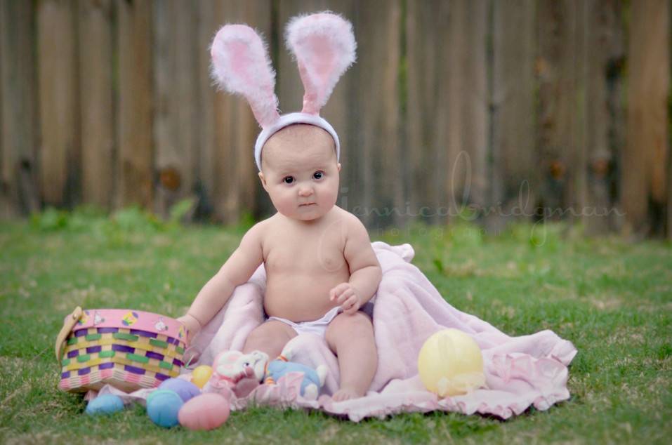 Cute Easter Bunny Baby | 6 Month Old Baby Girl | Conway, AR Baby Photographer