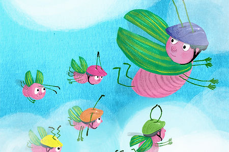 Kinderillustratie kevertjes vliegen Helmpjes