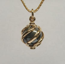 9ct yellow gold twist hematite ball pendant on sterling silver gold plated wheat chain