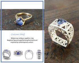 Lattice Sapphire Ring