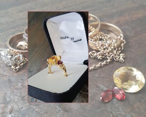 Citrine & Garnet Dress Ring