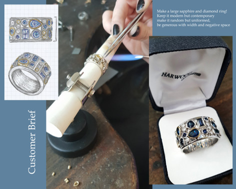 Large Sapphire and Diamond Ring