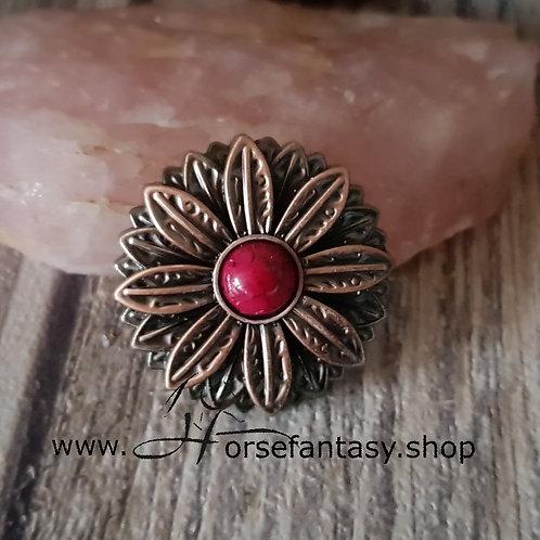 Concho Flower Rot Kupfer Antik