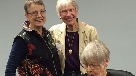 Laurel Wilson, Assistant Carol Spier with Dee Ladyman sewing.JPG