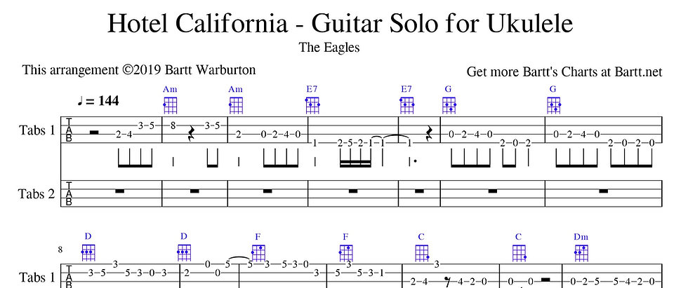 Hotel California - Guitar solo for Ukulele