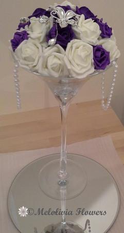 purple & white flower dome table centrepiece - foam flowers