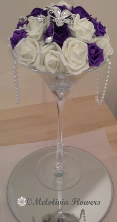 purple & white flower dome table centrepiece - foam flowers