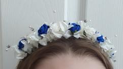blue & ivory headband - foam flowers