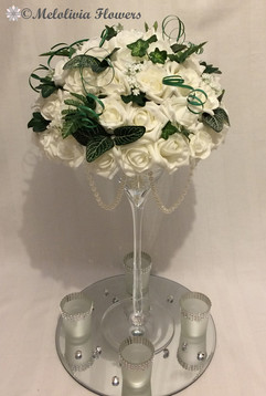 ivory flower dome table centrepiece - foam flowers