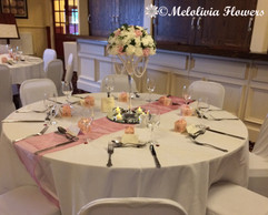pink & ivory flower dome table centrepiece - foam flowers