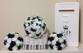 blue & white bouquets - foam and silk  flowers