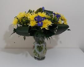 yellow chrysanthemum & iris in vase - fresh flowers