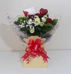 red roses, gyp & chrysanthemum box bouquet - fresh flowers