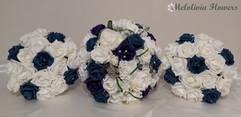 Teal, purple & ivory bouquets - foam flowers