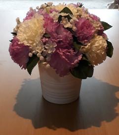 purple & ivory arrangement in pot - silk flowers