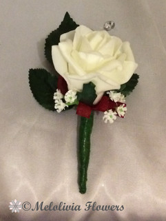 ivory buttonhole/corsage - foam flowers