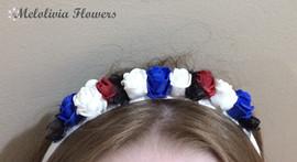 red, white & blue headband - foam flowers