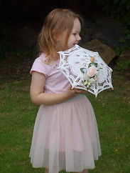 Melolivia Flowers - Pink & ivory parasol - foam flowers