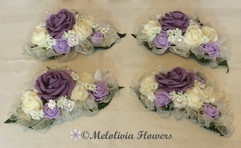 victorian lilac & ivory hair clips - foam flowers