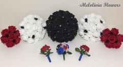 black ivory & red bouquets - foam flowers