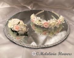 pink & ivory headband & hair clip - foam flowers