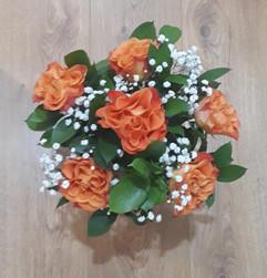 orange roses & gyp bouquet - fresh flowers