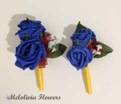 blue buttonholes/corsages with yellow ribbon - foam flowers
