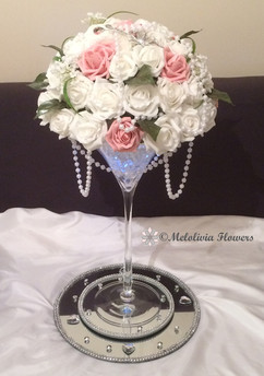 pink & white flower dome table centrepiece - foam flowers