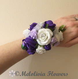 purple & ivory wrist corsage - foam flowers