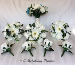 turquoise & ivory bouquets - foam and silk flowers