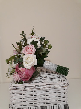 pink & ivory bouquet - foam and silk flowers