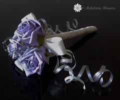 lilac & ivory flower girl wand - foam flowers
