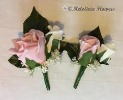 pink & ivory buttonholes/corsages - foam flowers
