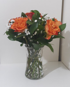 orange roses & gyp in vase - fresh flowers