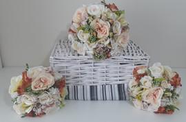 peach bouquets - foam flowers