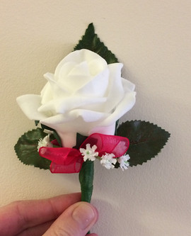 white buttonhole/corsage - foam flowers