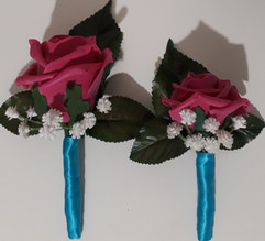hot pink buttonholes/corsages with turquoise ribbon - foam flowers