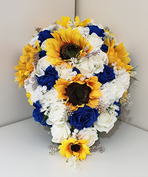 Artificial teardrop bouquet with roses and sunflowers (Extra Large)