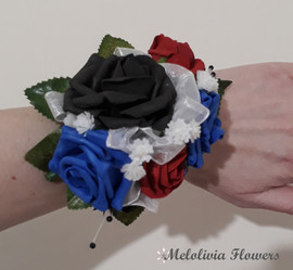 red, blue & black wrist corsage - foam flowers