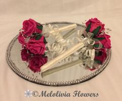 hot pink & ivory flower girl wands - foam flowers